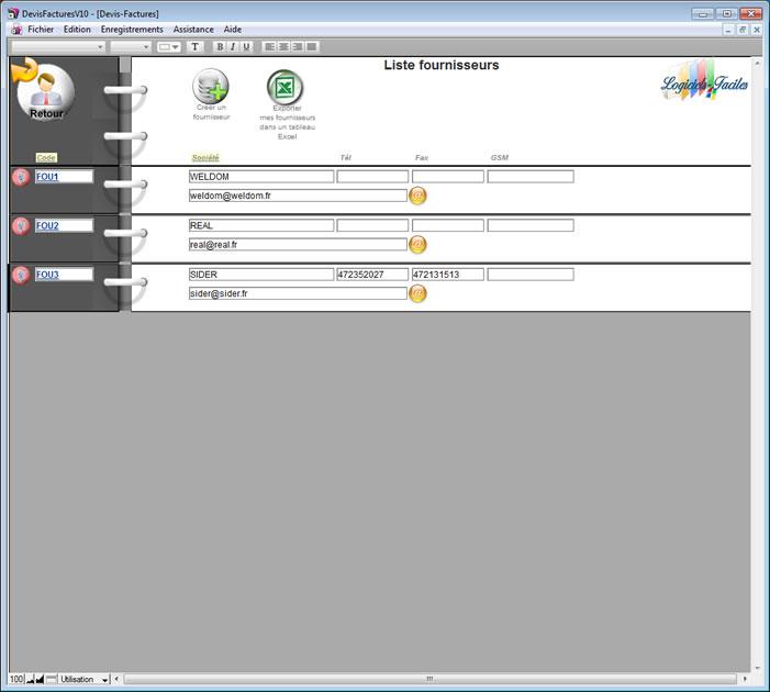 Aide logiciel de facturation devis factures fournisseurs page5 for Logiciel facturation garage
