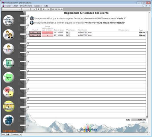 Aide logiciel de facturation devis factures r glement et for Logiciel facturation garage